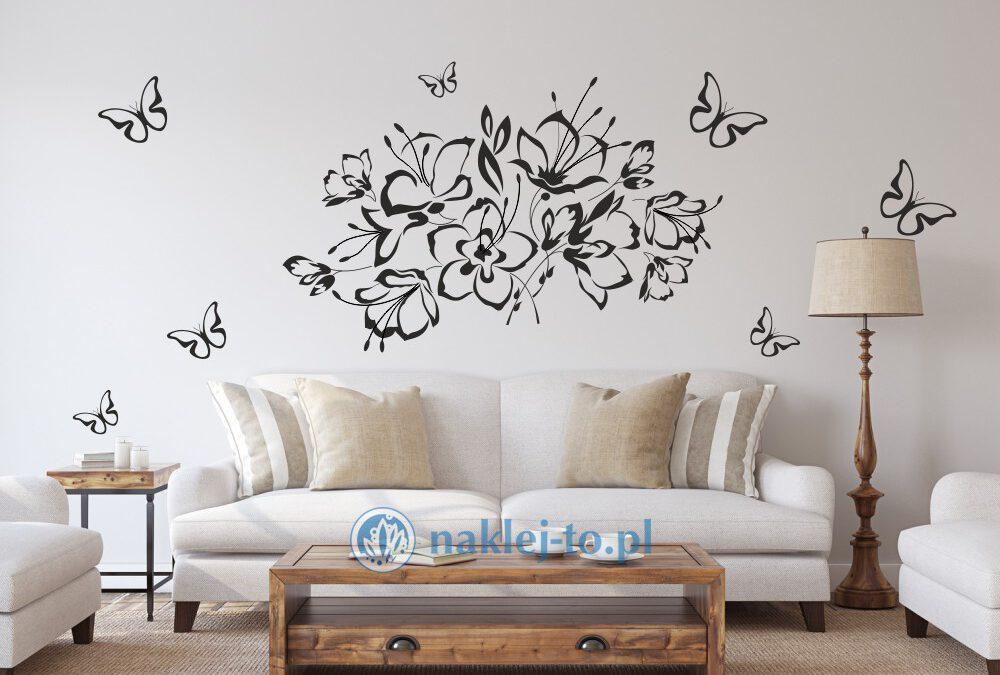 Naklejka motyle z kwiatami